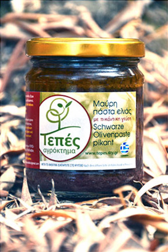 Olive black paste piquant TEPES, Lesvos